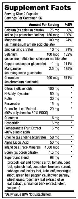 Optimal M Supplement facts