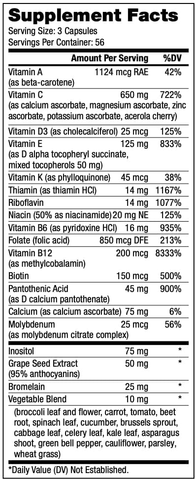 Optimal V Supplement Facts